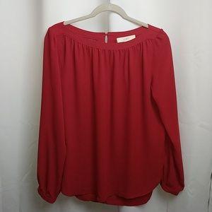 Ann Taylor Loft red long sleeve blouse (NWT)